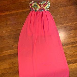 Manito Pink Strapless Slip Maxi Dress